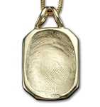 Small Rectangle w/Notched Corners Fingerprint Pendant
