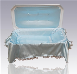 Deluxe Pet Casket in White/Blue