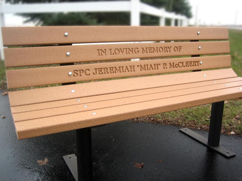 Shown with routed lettering Cemetery benches