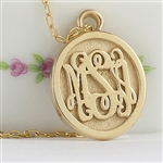 Oval Monogram Charm in Script Style