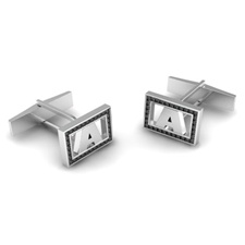 Initial Cuff Links with Diamonds