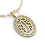 Diamond Monogram Pendant, Pierced in Script Style, 24mm