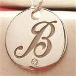 Round Script Initial Pendant with Diamond