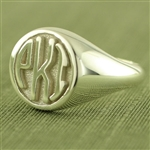 Women's Circle Monogram Ring, One Tone in Block Style
