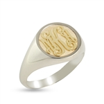 Women's Circle Monogram Ring, Two Tone in Script Style