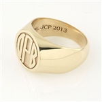 Men's Circle Monogram Ring, One Tone in Block Style
