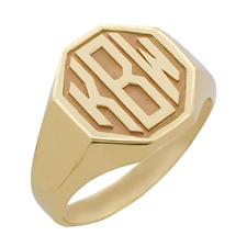 Men's Octagon Monogram Ring, One Tone in Block Style