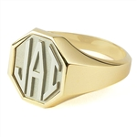 Men's Octagon Monogram Ring, Two Tone in Block Style