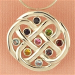 Family Love Knot Birthstone Pendant (or Brooch)