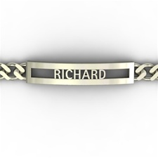 Gianni Name Chain Bracelet, Pierced One Tone with Rectangle Face