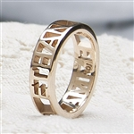 Gianni Name Ring, One Tone with Pierced Band