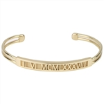 Roman Numeral Cuff Bracelet, One Tone with Rectangle Face