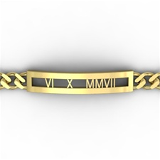Roman Numeral Chain Bracelet, One Tone with Rectangle Face