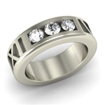 Roman Numeral Ring with Three-Diamond Setting, One Tone with Satin Band