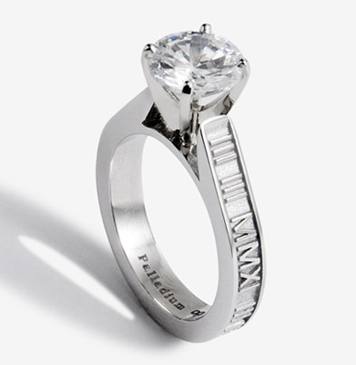 Stackable Roman Numeral Ring With Diamond Solitaire