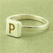 Mosaic™ Stacking Ring with 6mm Square Initial
