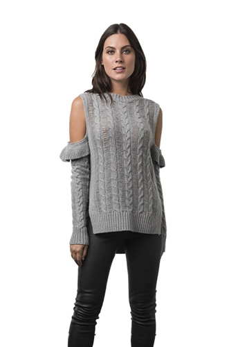 Karina Grimaldi Jerry Cold Shoulder Cashmere Sweater in Grey