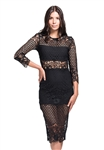 Karina Grimaldi Shell Lace Dress in Black