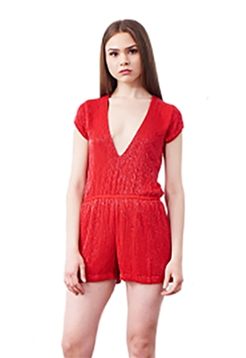 Karina Grimaldi  Beaded Romper In Red