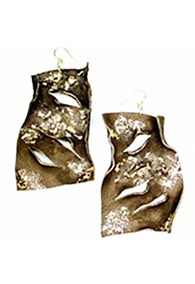 Sibilla G Leather Statement Earrings in Dark Brown