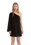 C/Meo Collective Static Space Long Sleeve Mini Dress in Black