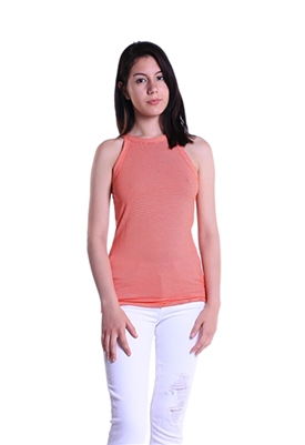 Three Dots Cutaway Stripe Tank in Hot Sun