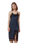 Keepsake Stop Me Lace Trim Dress in Navy