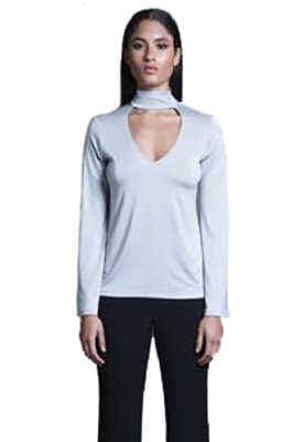 Sen Collection Huntington V Neck Turtleneck in Light Grey
