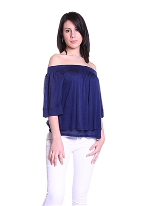 Three Dots Off The Shoulder Top in Navy