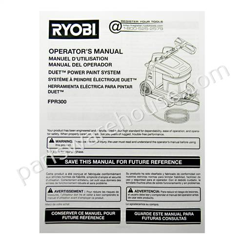 Ryobi Manual Operators Fpr300 Ry 987000610 Tool Parts