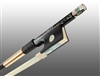 VIOLIN BOW BRAIDED CARBON FIBER ROUND, FULLY LINED EBONY FROG, 585 GOLD GRIP & TIP