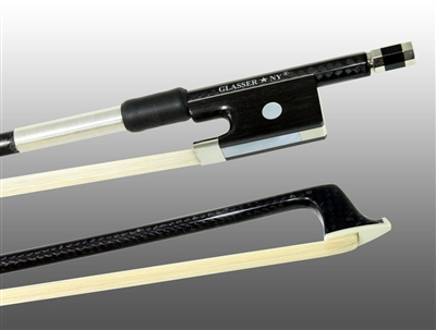 VIOLIN BOW BRAIDED CARBON FIBER ROUND, FULLY LINED EBONY FROG, NICKEL WIRE GRIP, PLASTIC TIP