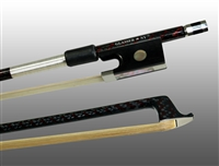 VIOLIN BOW BRAIDED CARBON / RED HYBRID FIBER, ROUND, FULLY LINED EBONY FROG, NICKEL WIRE GRIP & TIP