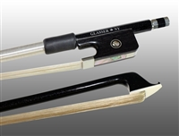 VIOLA BOW CARBON GRAPHITE, FULLY-LINED EBONY FROG, NICKEL WIRE GRIP