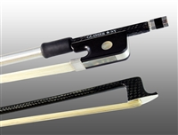 VIOLA BOW BRAIDED CARBON FIBER OCTAGONAL, FULLY LINED EBONY FROG, NICKEL WIRE GRIP & TIP