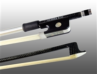 VIOLA BOW BRAIDED CARBON FIBER ROUND, FULLY LINED EBONY FROG, STERLING SILVER WIRE GRIP & TIP