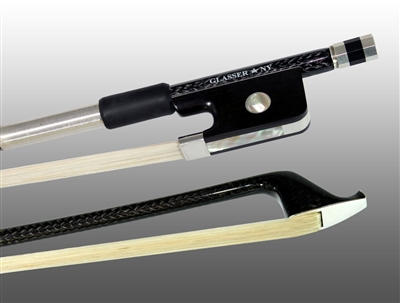 CELLO BOW BRAIDED CARBON FIBER ROUND, FULLY LINED EBONY FROG, STERLING SILVER WIRE GRIP & TIP