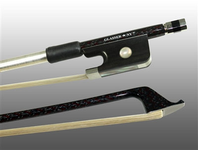 CELLO BOW BRAIDED CARBON/RED HYBRID FIBER, ROUND, FULLY LINED EBONY FROG, NICKEL WIRE GRIP & TIP