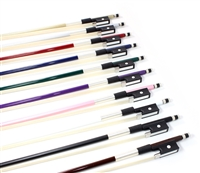 CELLO BOW FIBERGLASS, COLORED STICK, HALF-LINED FROG NICKEL WIRE GRIP