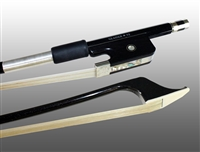 BASS BOW FRENCH CARBON GRAPHITE, FULLY-LINED EBONY FROG, NICKEL WIRE GRIP