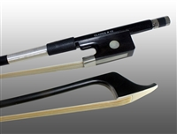 BASS BOW FRENCH CARBON COMPOSITE, HALF-LINED EBONY FROG,  NICKEL WIRE GRIP