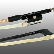 BASS BOW FRENCH BRAIDED CARBON FIBER ROUND, FULLY LINED EBONY FROG, 585 GOLD GRIP & TIP