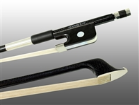 BASS BOW FRENCH BRAIDED CARBON FIBER ROUND, FULLY LINED EBONY FROG, NICKEL WIRE GRIP, PLASTIC TIP