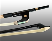 BASS BOW GERMAN BRAIDED CARBON FIBER ROUND, FULLY LINED EBONY FROG, 585 GOLD GRIP & TIP