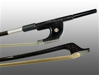 BASS BOW GERMAN BRAIDED CARBON/RED HYBRID FIBER, ROUND, FULLY LINED EBONY FROG, NICKEL WIRE GRIP & TIP