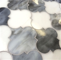 Arabesque Gray and White 11x13 Glass Tile
