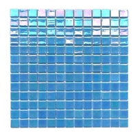 1x1 Glossy Spa Blue Iridescent Shimmer Handmade Glass Mosaic Tile