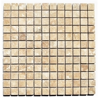1x1 Walnut Honed Filled Straight Edge Travertine Wall Mosaic Tile