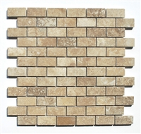 1X2 Walnut Honed and Filled Straight Edge Travertine Mosaic Tile