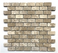 "Emperador Light 1""x2"" Tumbled Marble Mosaic Tile"